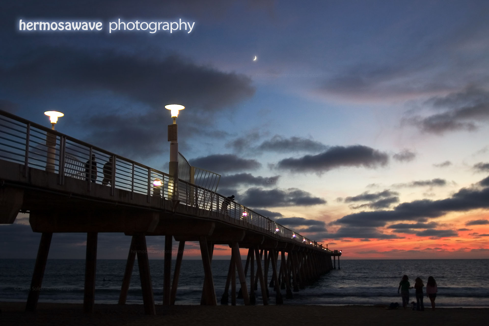 Pier, Moon, & Clouds