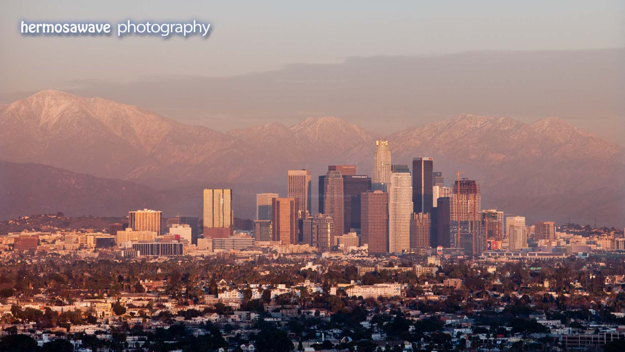 Downtown LA and Mountains