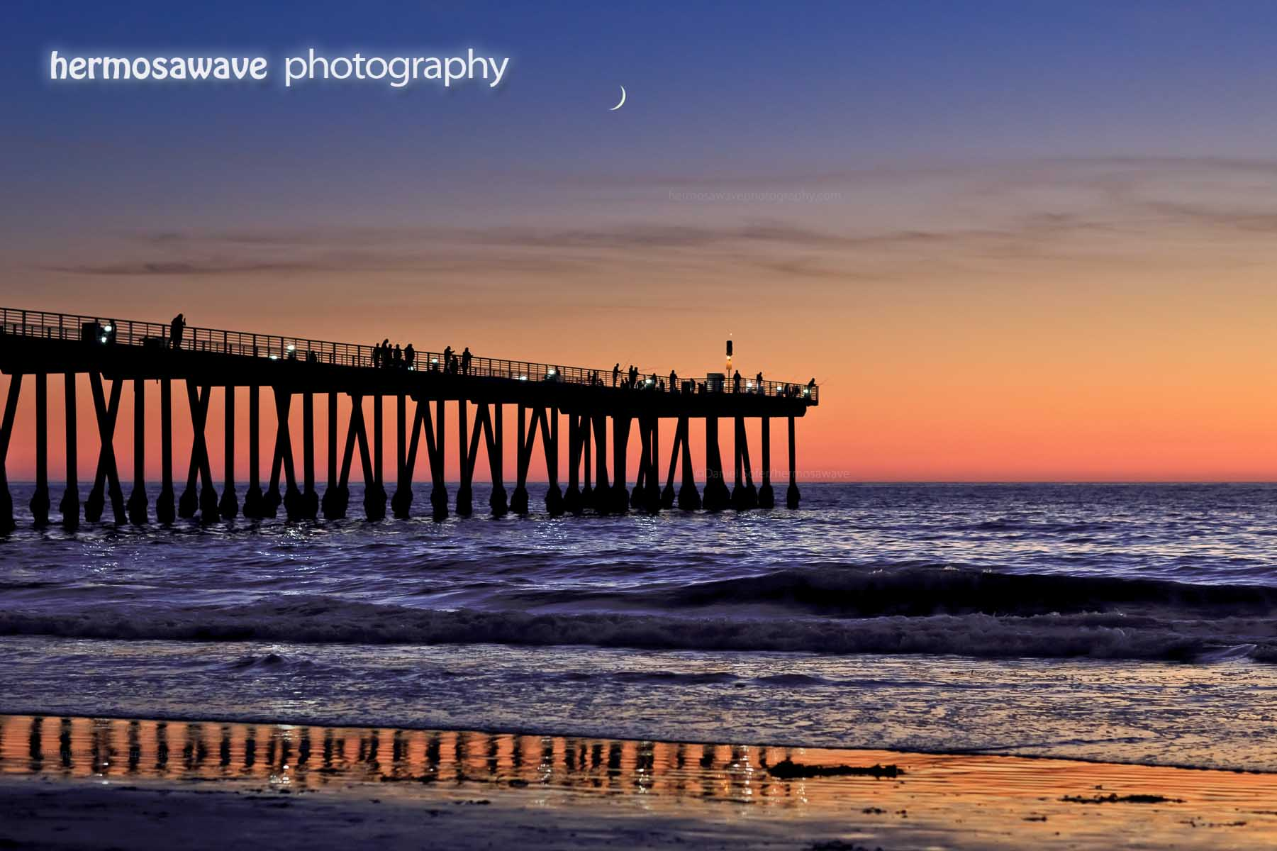 Crescent Moon Over the Pier
