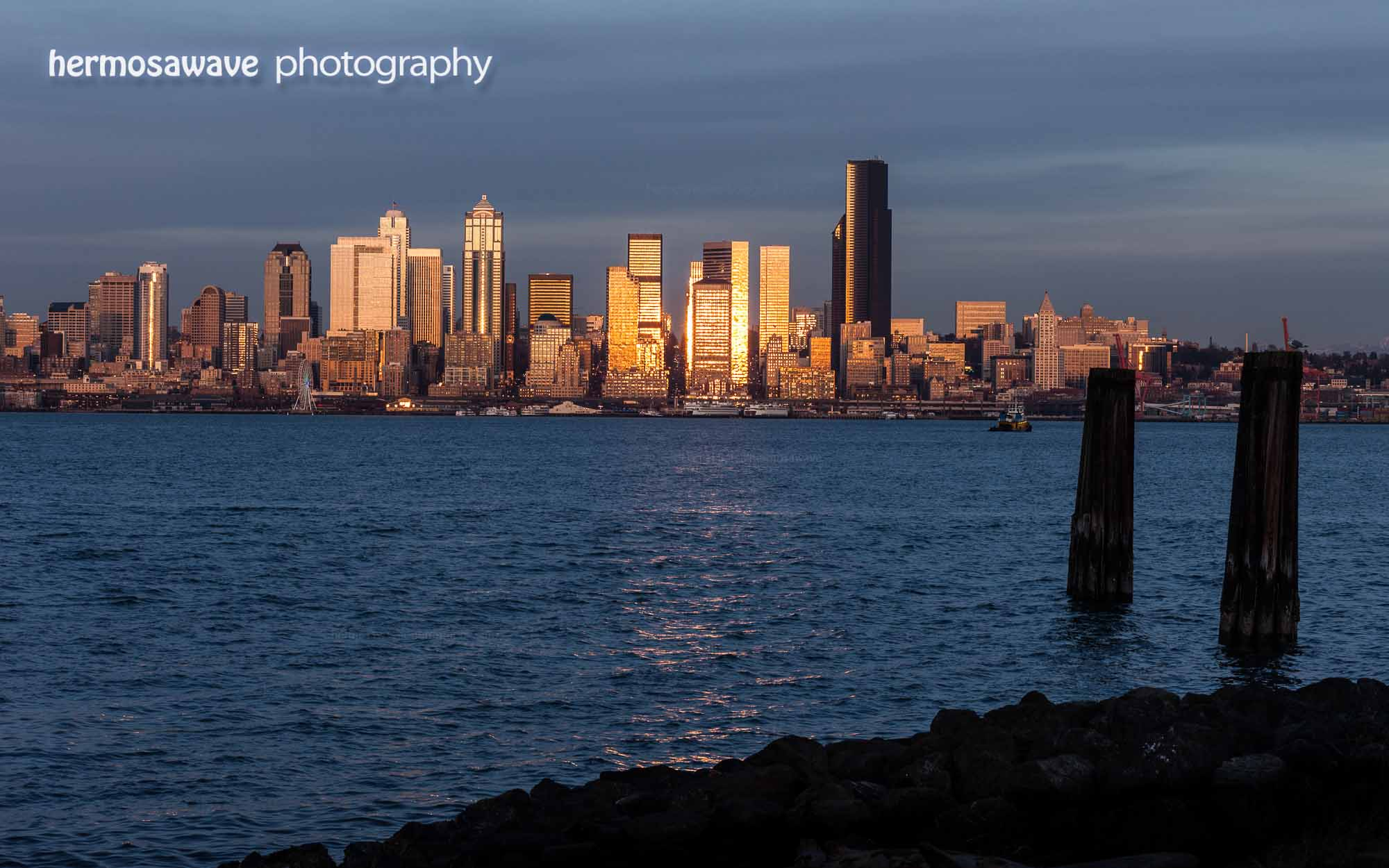 Golden Seattle Skyline