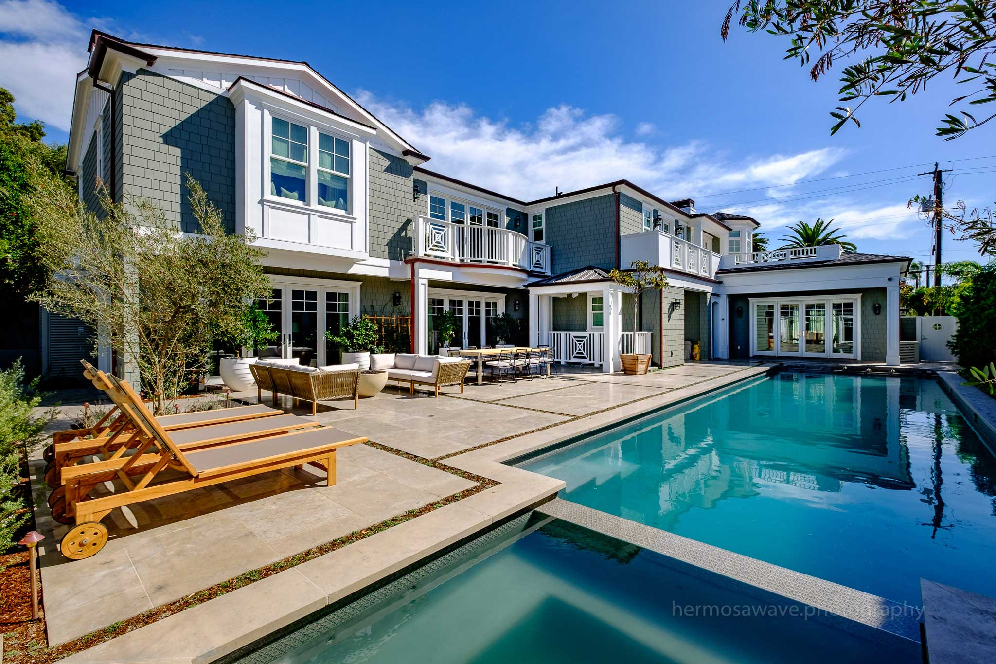 Pool is the central focus of this Manhattan Beach home.
