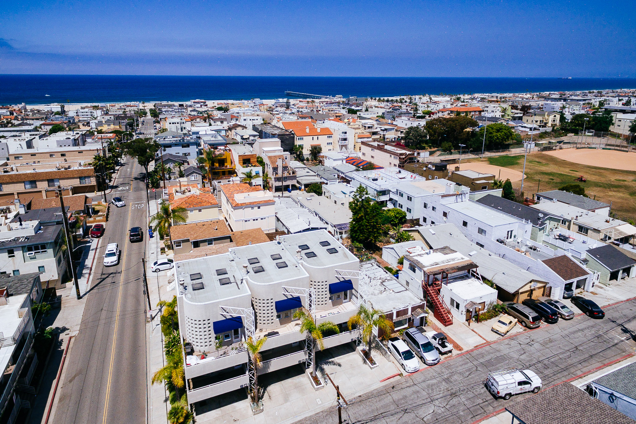 Beach Townhomes, Hermosa Beach, California (Shooting from a drone is a good way to show a property's relationship to its environment)